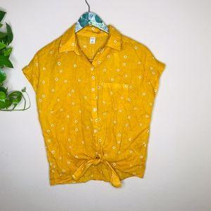 Old Navy Mustard Yellow flowered tie top
